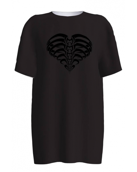 BLACK HEART PRINT VELVET T-SHIRT