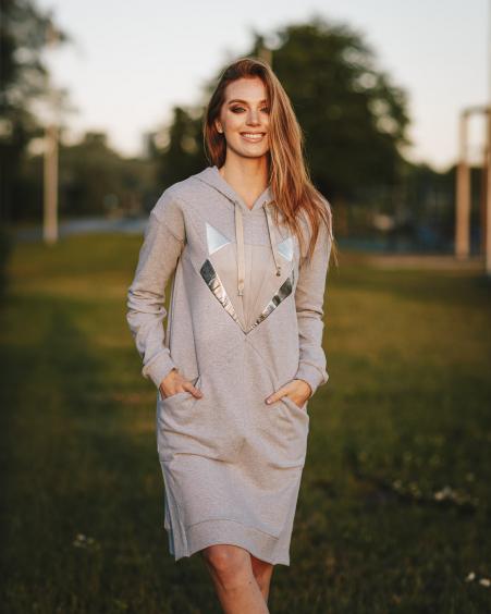 GREY SILVER FOX HOODED DRESS