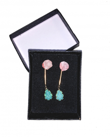 PINK ROCKY STONE DROP TURQUOISE STONE EARRINGS