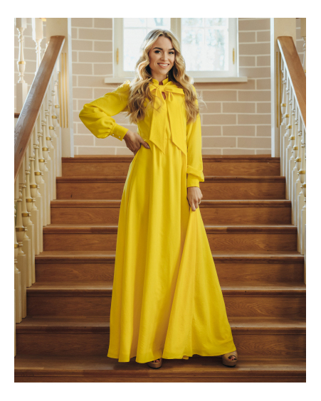 YELLOW BIG BOW MAXI DRESS