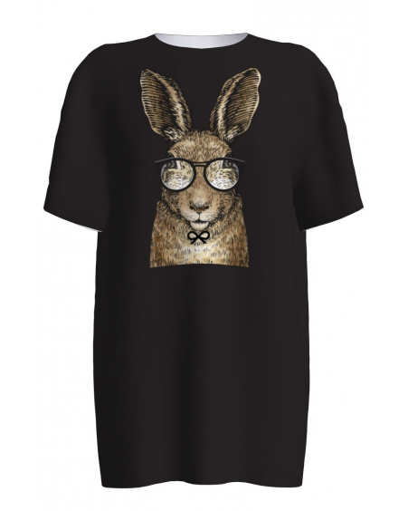 BLACK SMART RABBIT PRINT T-SHIRT