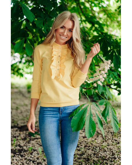 YELLOW FRILL QUARTER SWEATER