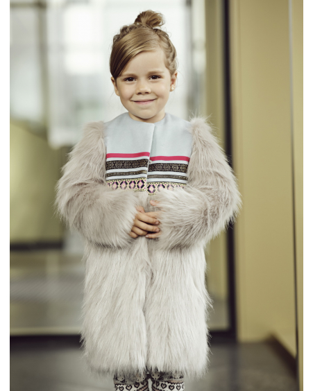 ETHNIC GREY FAUX FUR COAT KIDS
