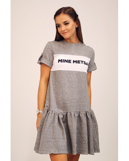MINE METSA GREY FRILL DRESS