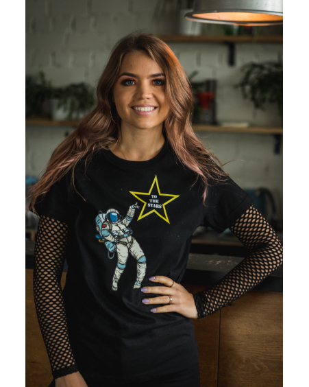 TO THE STARS BLACK PRINT T-SHIRT