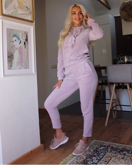 LIGHT PINK VELVET SWEATPANTS