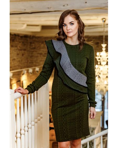 GREY FLARE GREEN JUMPER DRESS