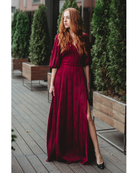 BORDEAUX OLIVIA WAVE MAXI DRESS