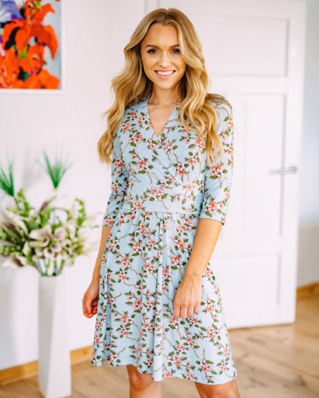LIGHT BLUE BLOSSOM ELEGANT DRESS