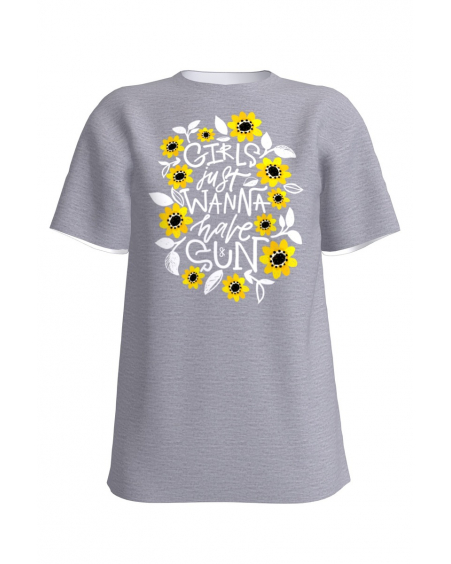 GIRLS JUST WANNA HAVE SUN GREY T-SHIRT