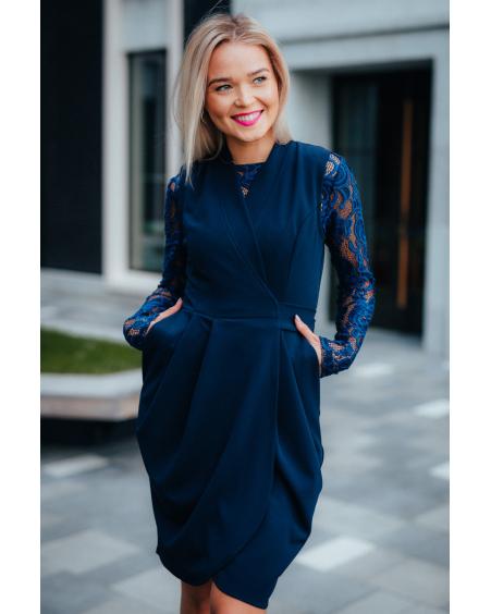 LACE BLUE TULIP POCKET DRESS