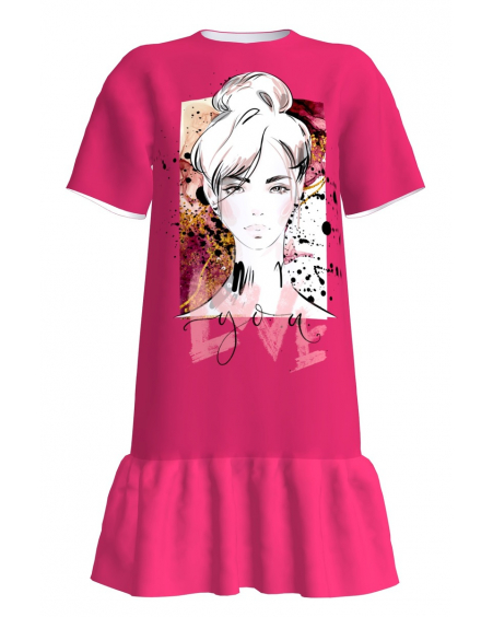 Love You T-Shirt Dress Fucia