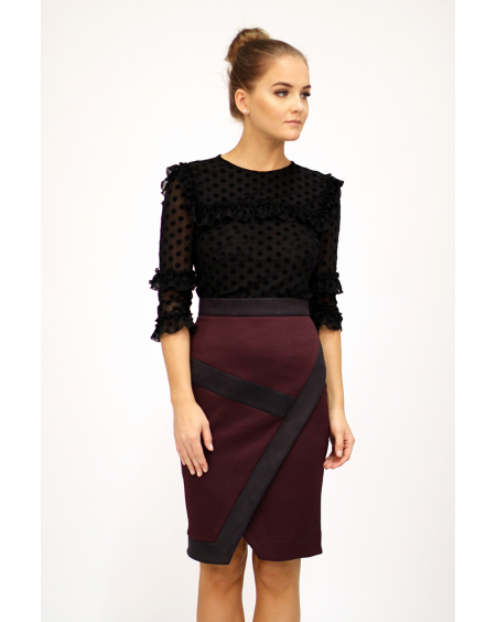 MAROON DIAGONAL SLIT SKIRT