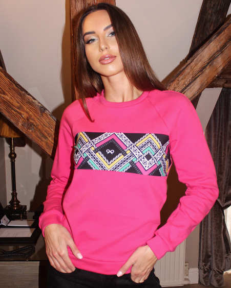 COLORFUL FUCHSIA ETHNIC SWEATER