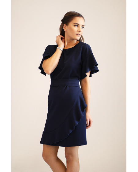 NAVY DIAGONAL FRILL DRESS