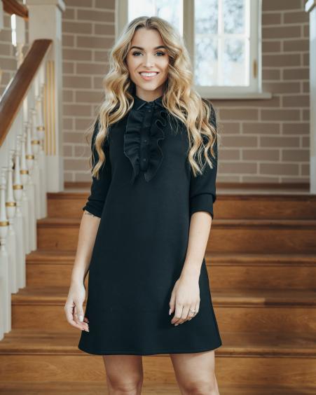 BLACK FRILL LINE LEATHER DETAIL DRESS
