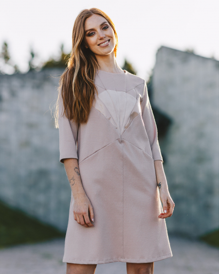 SAND PINK SILVER FOX POCKET DRESS