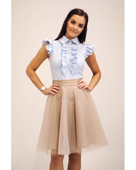 LIGHT BLUE FRILL TOP
