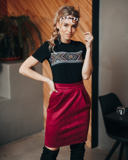 BORDEAUX SUEDE TULIP SKIRT