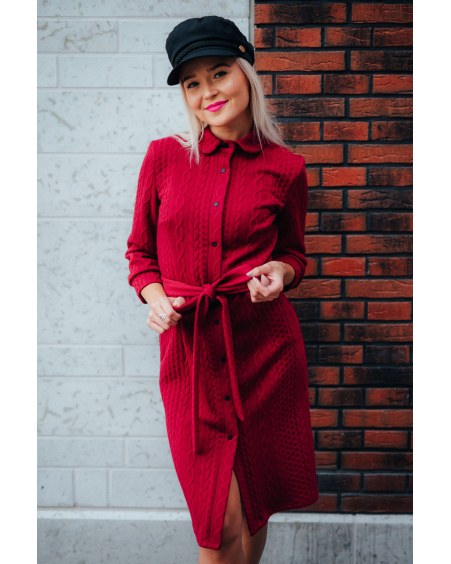 RED BOYFRIEND KNIT DRESS