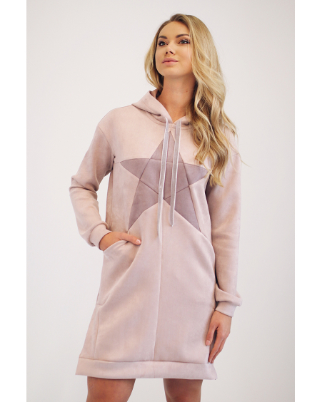 STAR SUEDE HOODED BLUSH DRESS