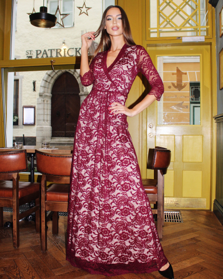 BURGUNDY LACE ELEGANT MAXI DRESS