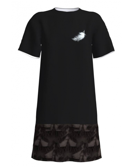 ANGEL PRINT FRINGE BORDER DRESS