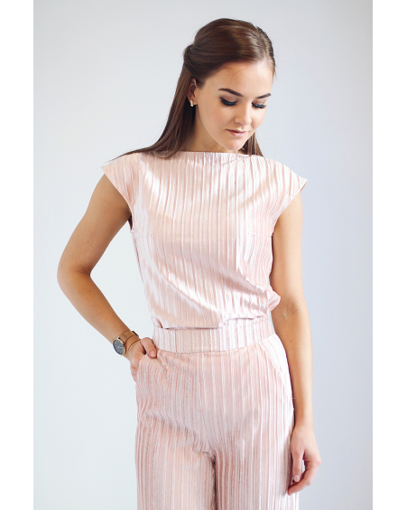 PINK STRIPE VELVET TOP