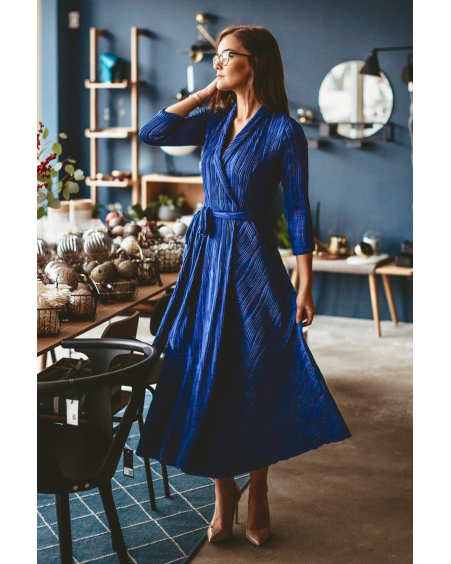 BLUE WAVE MOON MIDI DRESS