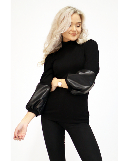 BLACK HIGH NECK BLOUSE