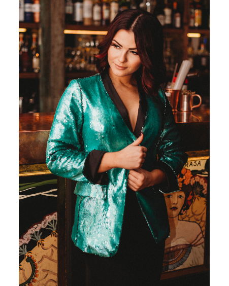 CHIC GREEN SEQUIN JACKET