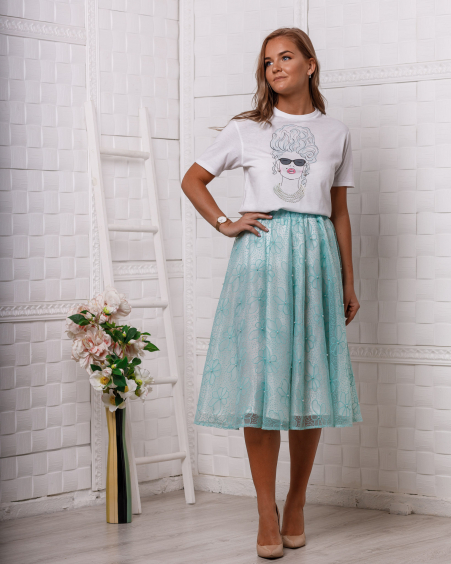 PEARL MINT MIDI SKIRT