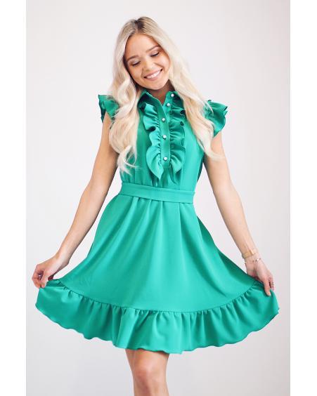 GREEN FRILL DRESS