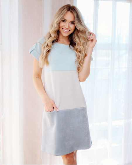 LIGHT BLUE TRIO POCKET SUEDE DRESS