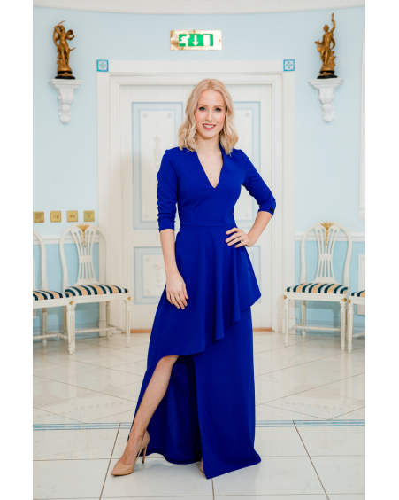 ASYMMETRIC BLUE MAXI DRESS