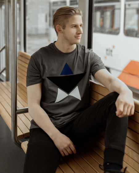GREY MENS ESTONIAN STAR PRINT T SHIRT