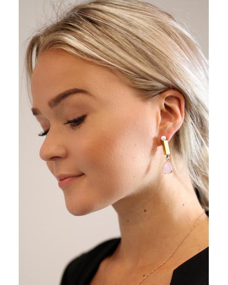 WHITE PEARL PINK DROP EARRINGS