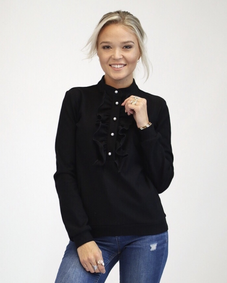BLACK FRILL SWEATER