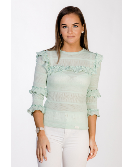 MINT FRILL BOHO LACE BLOUSE