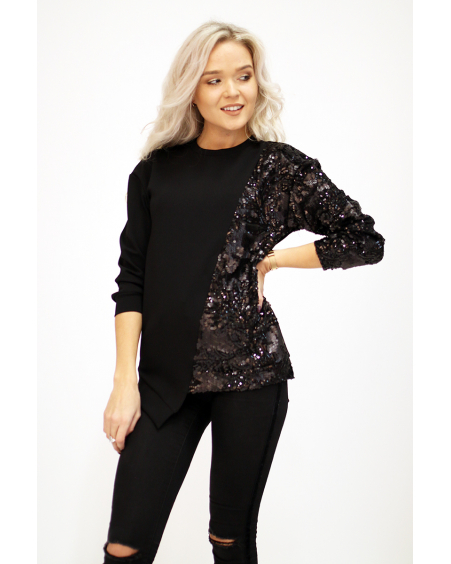 BLACK COOL CUT SEQUIN SWEATER