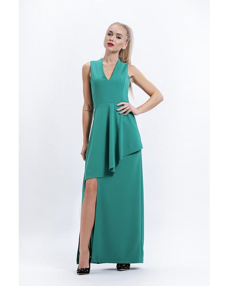 ASYMMETRIC GREEN MAXI DRESS