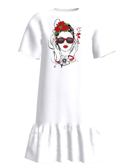 FLOWER DOLL Frill Dress White SL Print