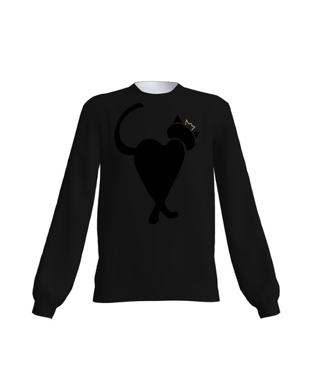 BLACK QUEEN HEARTCAT SWEATER