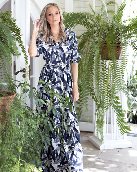 COMET MAXI DRESS BLUE FEATHERS
