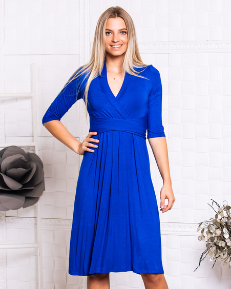 ELECTRIC BLUE ELEGANT MIDI DRESS