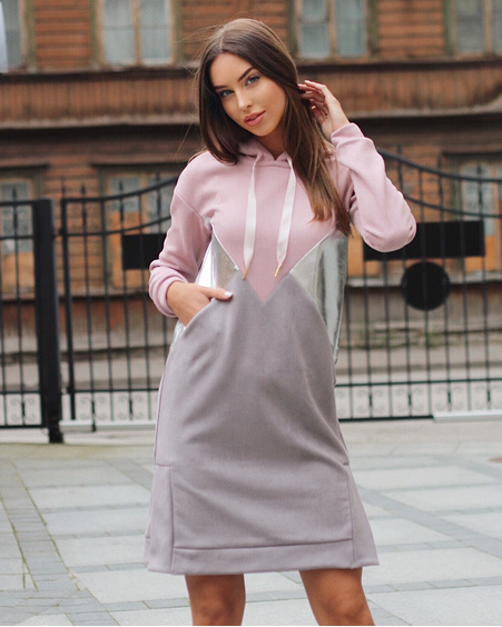 BLUSH TRIANGLE SILVER HOODED DRESS