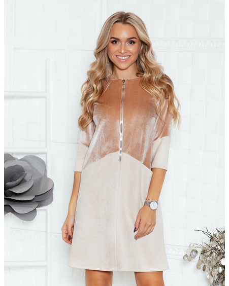 PEACHY-BEIGE ZIPPER VELVET DRESS