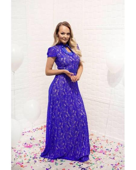 BLUE LACE DOLLABLE MAXI DRESS