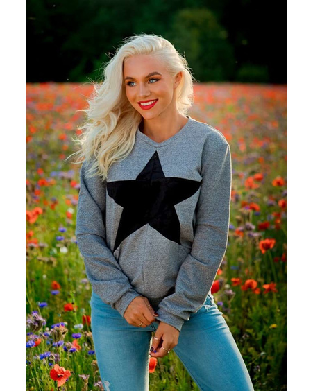 BLACK STAR GREY SWEATER