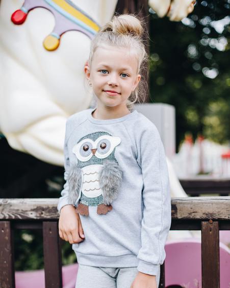 OWL KIDS SWEATSHIRT LIGHT GREY
